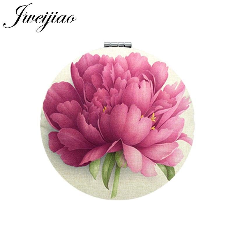 JWEIJIAO Flowers Photo Print PU Leather Makeup Mirrors Mini Round Folding Compact Pocket Mirror 1X/2X Magnifying Vanity espejo(China)
