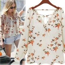 купить Women Chiffon Blouse Lady Lace Up Long Sleeve Shirt Printed Fashion Blouses Floral Casual Shirt дешево