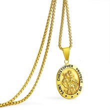 Mens Saint Christopher Necklace Stainless Steel Gold Plated Catholic Patron St Medal Pendant Jewelry Traveler Medallion
