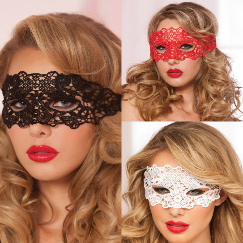 Porn Sex Lingerie For Woman Black/White/Red Hollow Out Lace Eye Mask Halloween Party Sexy Costumes Erotic Toys For Adults(China)