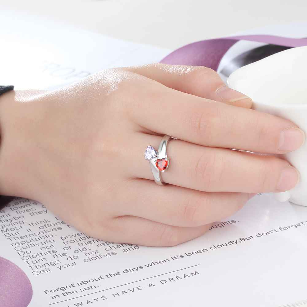 Personalized Promise Rings Heart Birthstone Custom Engrave 2 Names ...