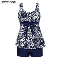 JOYMODE Bikini Bodysuit Swim Dress Tankini With Shorts Push Up Floral Print Vintage Women Swimsuit 3XL