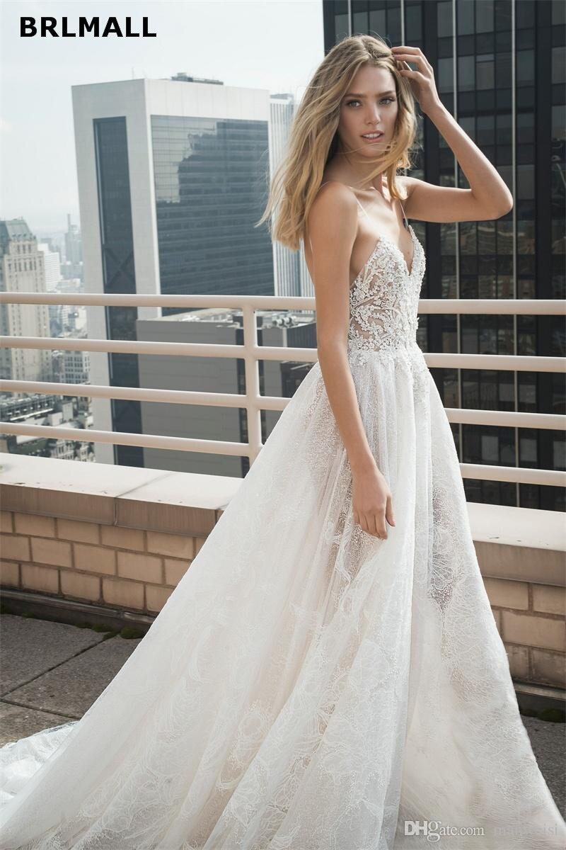 Bohemia 2019 New Wedding Dresses Sexy Lace Appliqued Beads Tulle Spaghetti Neck Boho Wedding Dress Bridal Gowns Robe De