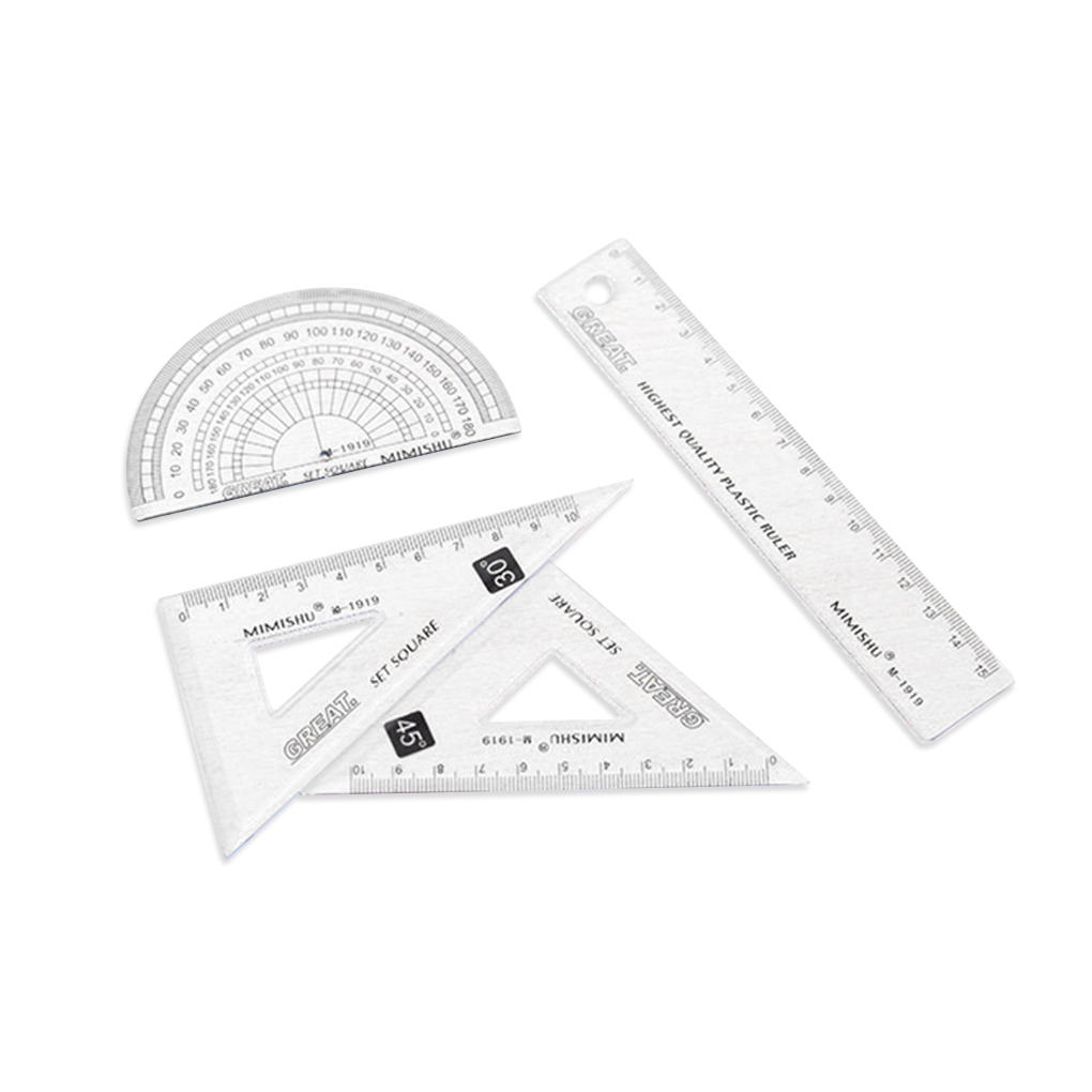 4Pcs/set Ruler Stationery Set Home Office School Student Kids Painting Metric Tool