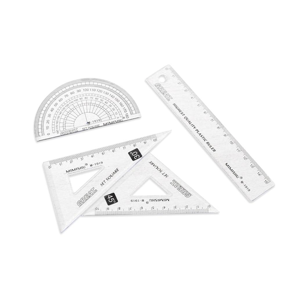 4Pcs/set Ruler Stationery Set Home Office School Student Kids Painting Metric Tool