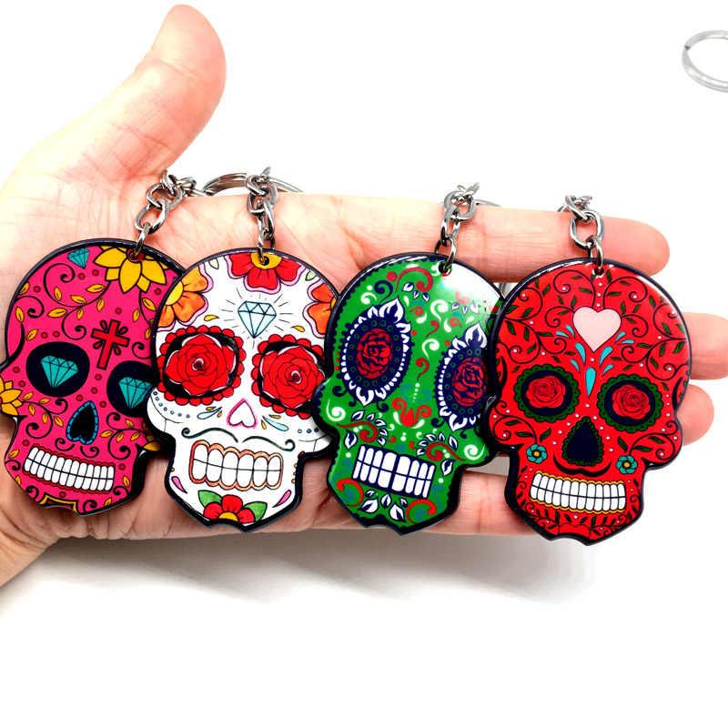 Llavero Calavera Sugary-dulce llaveros de Calavera llaveros para celebrar el Día mexicano de Halloween muerto cráneo de azúcar Acrílico