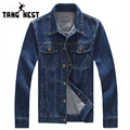 TANGNEST 2017 Handsome Man's Denim Jacket Fit Turn-Down Collar Men Jacket Suitable Four Seasons Plus Size M-6XL Wholesale MWJ611