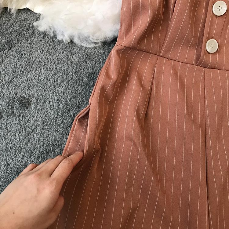 2019 Spring and Summer Korean New Stripe High Waist Open-back Jumpsuit Women Sleeveless Broad-legged Overalls G794 15