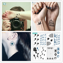HC Mixed 8 Sheets Classic Tattoo Designs Black Tatoo Fake Body Temporary Tattoos Roses, birdcages, arrows  Design For Women