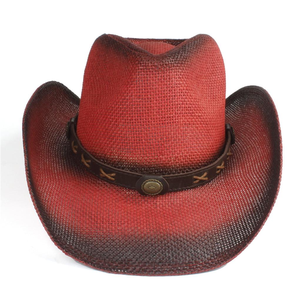 4 Stlye Women Men Straw Hollow Western Cowboy Hat Lady Red Bohemia Tassel Sombrero Fedora Beach Cowgirl Jazz Sun Hat Size 58CM