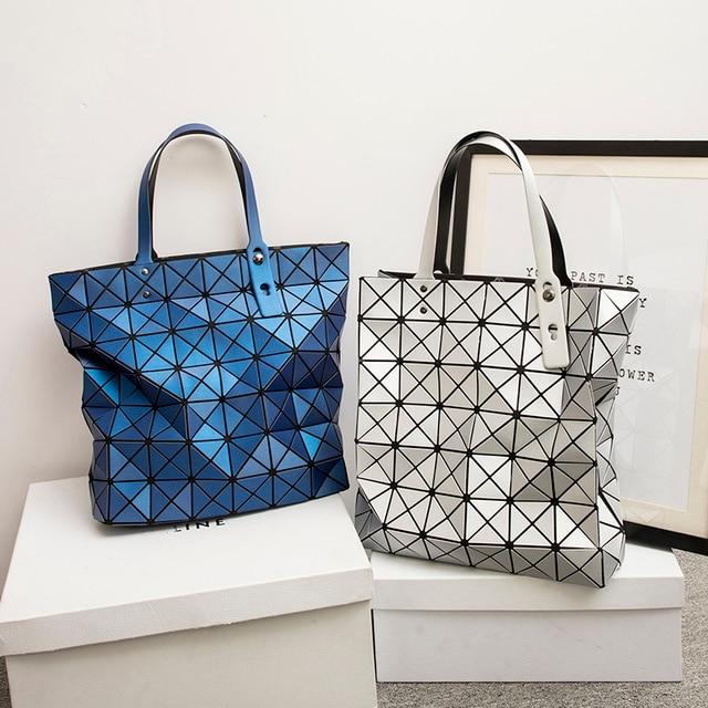 2017 Japan Style Luxury Matte Rock Holographic Shoulder Bag Fashion Geometry Laser Folding Women Bao Tote Handbag Big Shop Bags