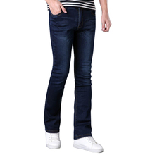 Brand Mens Flared Jeans Boot Cut Leg Flared Wlastic Slim Fit Mid Waist Male Designer Classic Denim Jeans Pants Bell Bottom Jeans