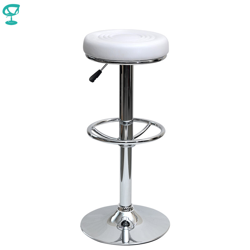 94784 Barneo N-128 Leather Kitchen Breakfast Bar Stool Swivel Bar Chair White Color Free Shipping In Russia