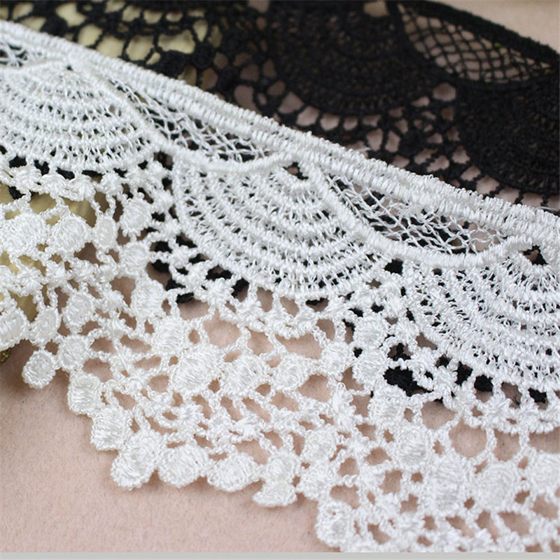 9 CM Wide White And Black Water Soluble Milk Ribbon Hollow Lace Trim Fabric For Sewing Accessory Bridal Wedding Dress DIY Crafts in Lace from Home Garden