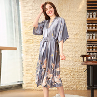 704bf0abb Grey Silk Satin Wedding Bride Robe Floral Bathrobe Short Kimono Robe Night  Robe Bath Robe Fashion