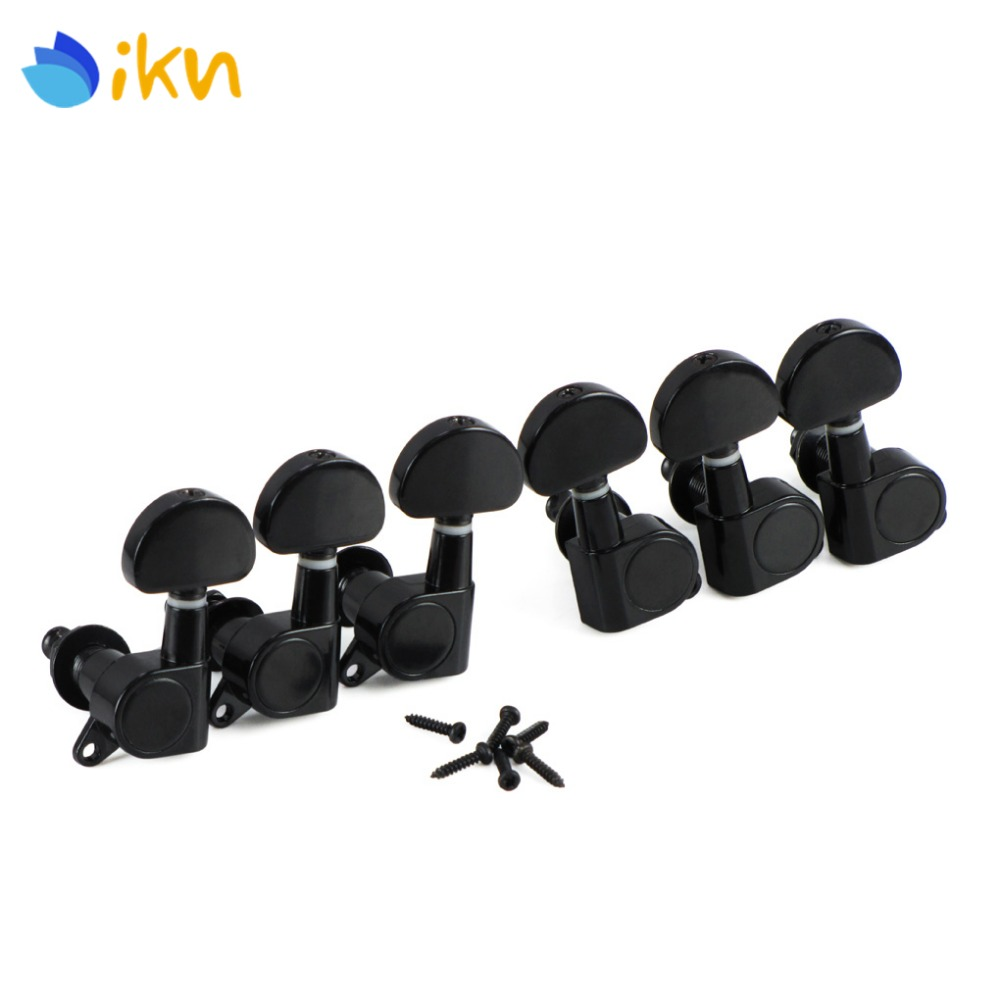 New 6pcs Enclosed Sealed Electric Acoustic Guitar Tuning Key Pegs Machine Heads 3L3R Black For Guitar Parts & Accessories