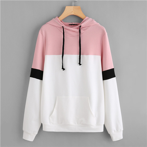 a303dde98bd [o] Dotfashion Drawstring Colorblock Pocket Front Cut And Sew Hoodie Women  Hooded Pullovers Autumn Long Sleeve Preppy Top Sweatshirt-in Hoodies ...