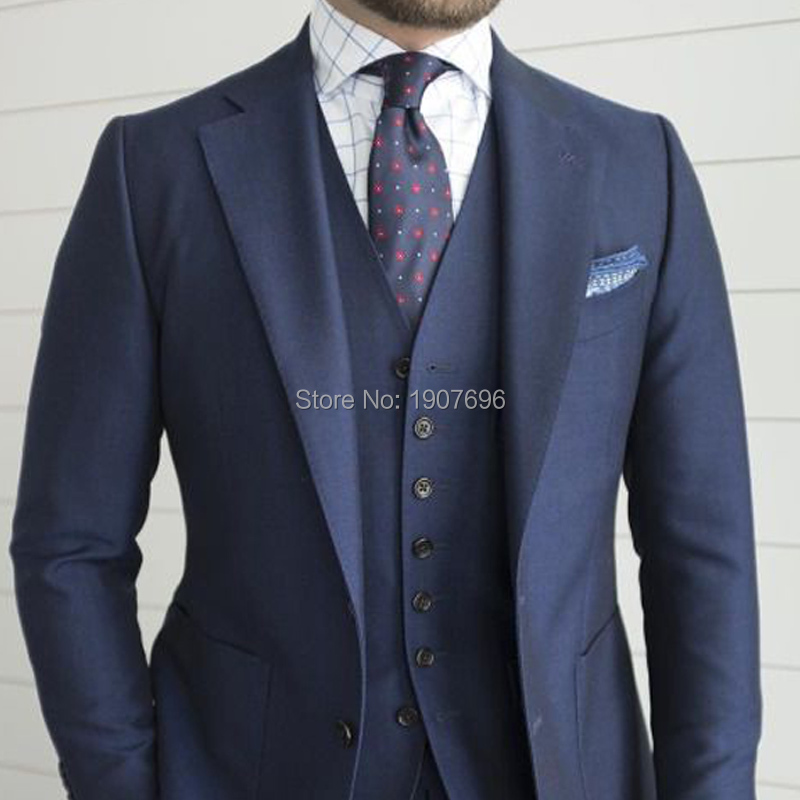 Navy Blue Wedding Men Suit for Formal Prom Party Tailor Made Groom Tuxedos 3 Piece Jacket Pants Vest Lastest Style Blazer in Suits from Men 39 s Clothing