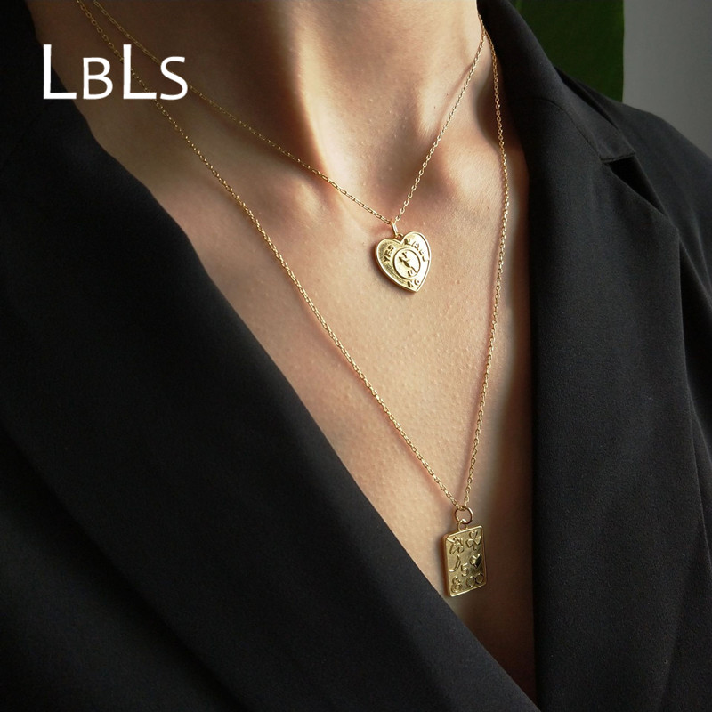 LBLS Genuine 925 Sterling Silver Necklace Heart Gold Filled Necklaces & Pendants for Women Korean Fashion 925 Silver Jewelry fashion custom lettering 925 silver love heart shaped couple necklace peach heart pendants for men and women yp3196