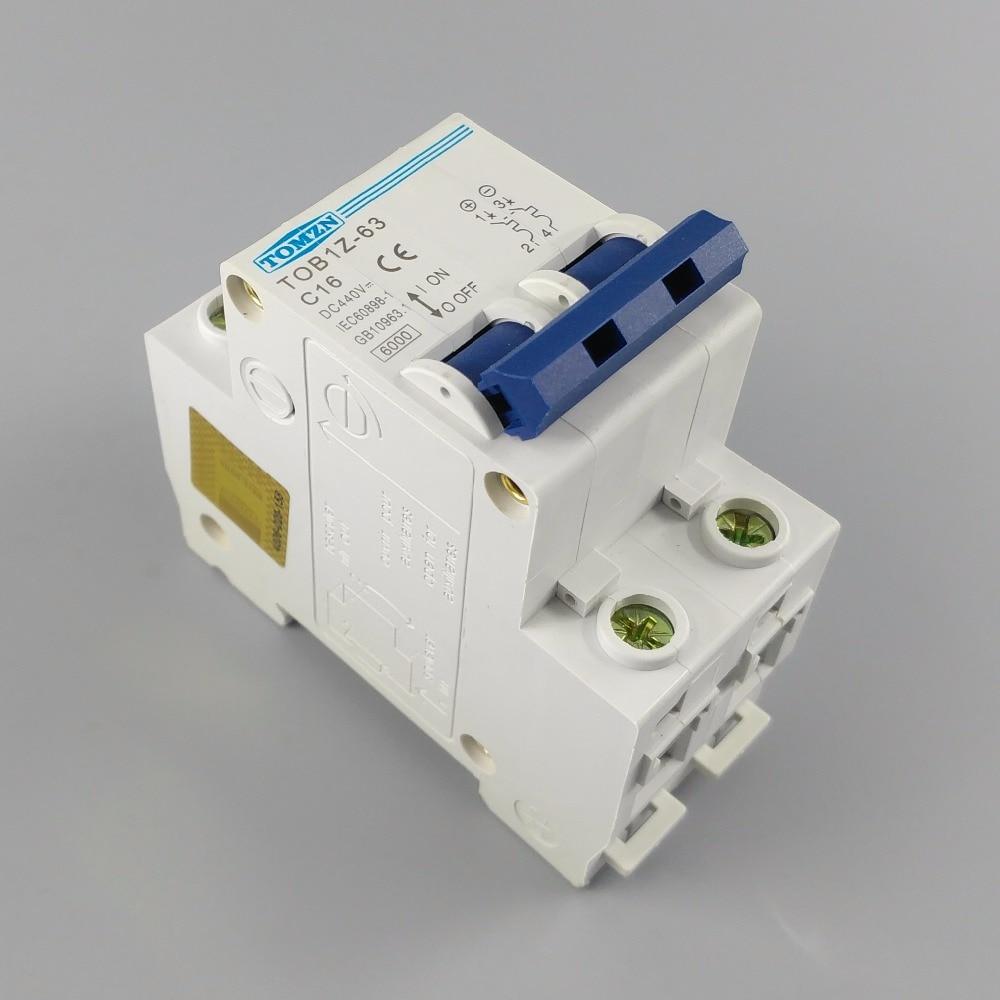 2P 16A DC 440V Circuit breaker MCB C curve 2p 10a dc 440v circuit breaker mcb