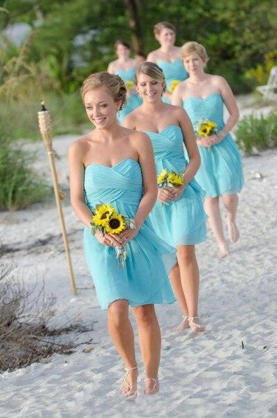 Wholesale Cheap Off the Shoulder Chiffon Sky Blue   Bridesmaid     Dresses   Vestido De Festa Short Beach Wedding Party   Dress