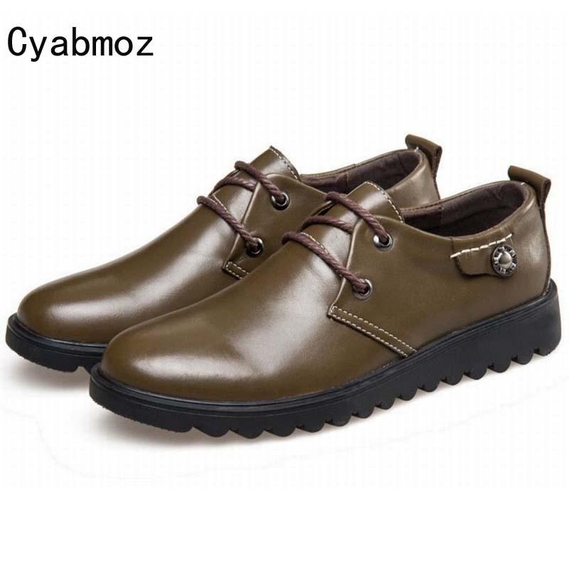 Новая весна осень квартиры обувь мужчина Натуральная кожа Повседневная обувь мода кружева-up обувь удобная Платформа обувь для вождения