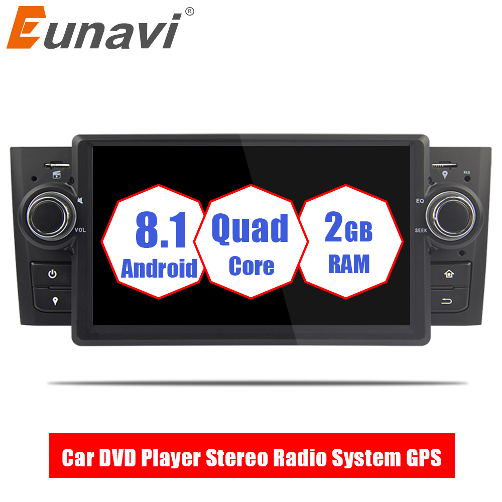Eunavi 1 Din 7'' Quad core Android 8.1 Car DVD Player Stereo Radio System GPS Navi for Fiat Linea Grande Punto 2007-2012 USB BT eunavi 7 2 din android 7 1 8 1 car dvd player radio multimedia gps navi for toyota rav 4 rav4 audio stereo 2din rds wifi usb
