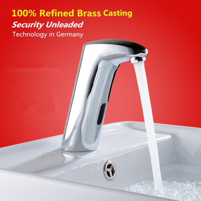 Hands Free Auto Sensor Bathroom Basin Faucet Hot And Cold Washer ...