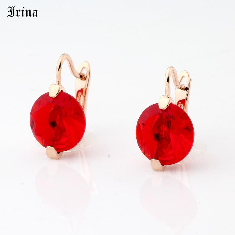 Irina Round CZ Earrings Women Gem Ear Drop Earring Vintage Jewelry Zircon 585 Rose Gold Color earrings multicolor