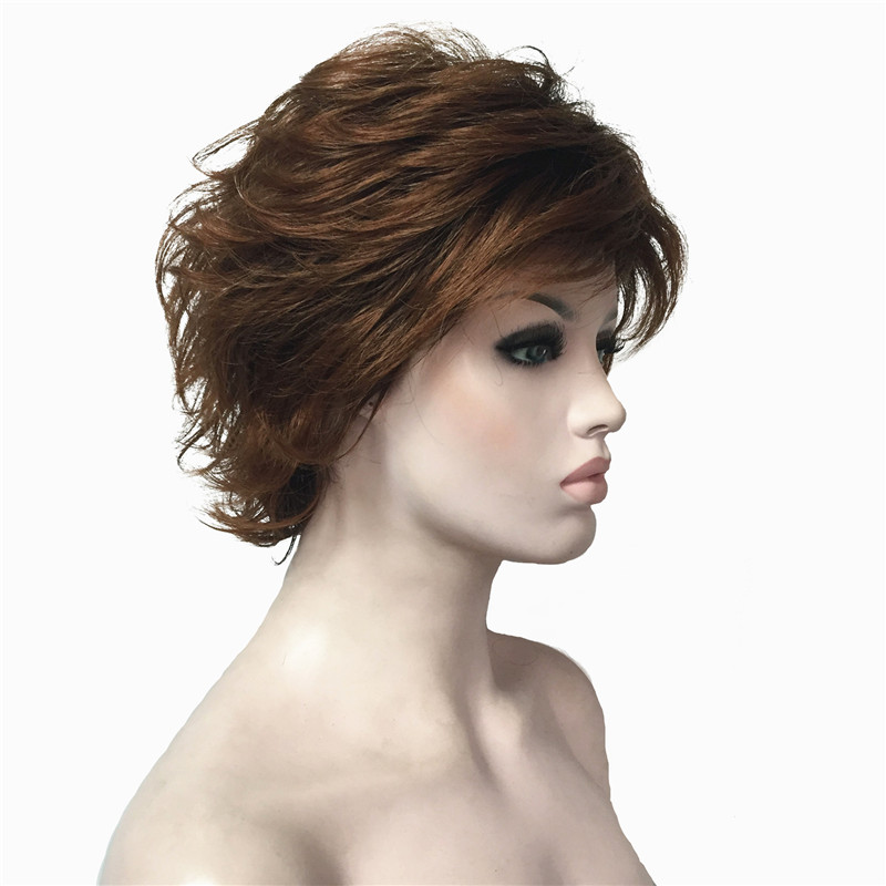StrongBeauty Womens short Wigs Natural Fluffy Blonde/Auburn Hair Synthetic Full Wig