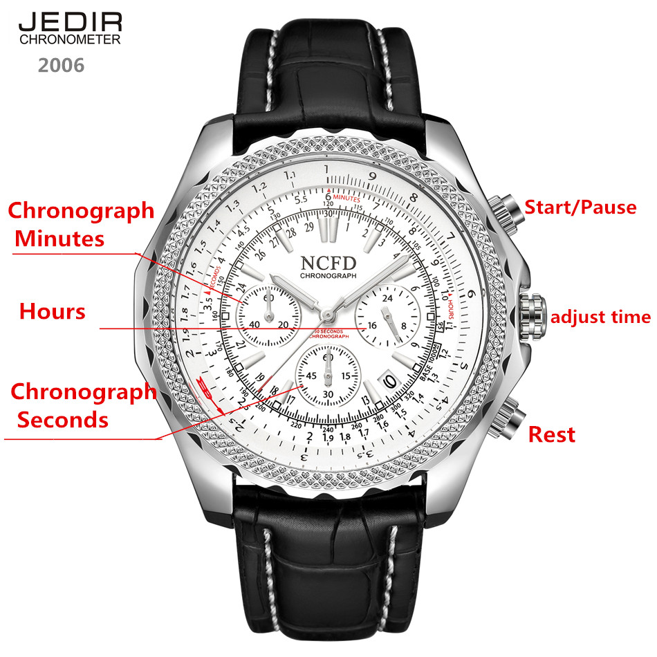Jedir New Mans Watch Sport Quartz Movement Wristwatches Water Water Resistant Hardlex Complete Calendar Chinese Man Watch 2017