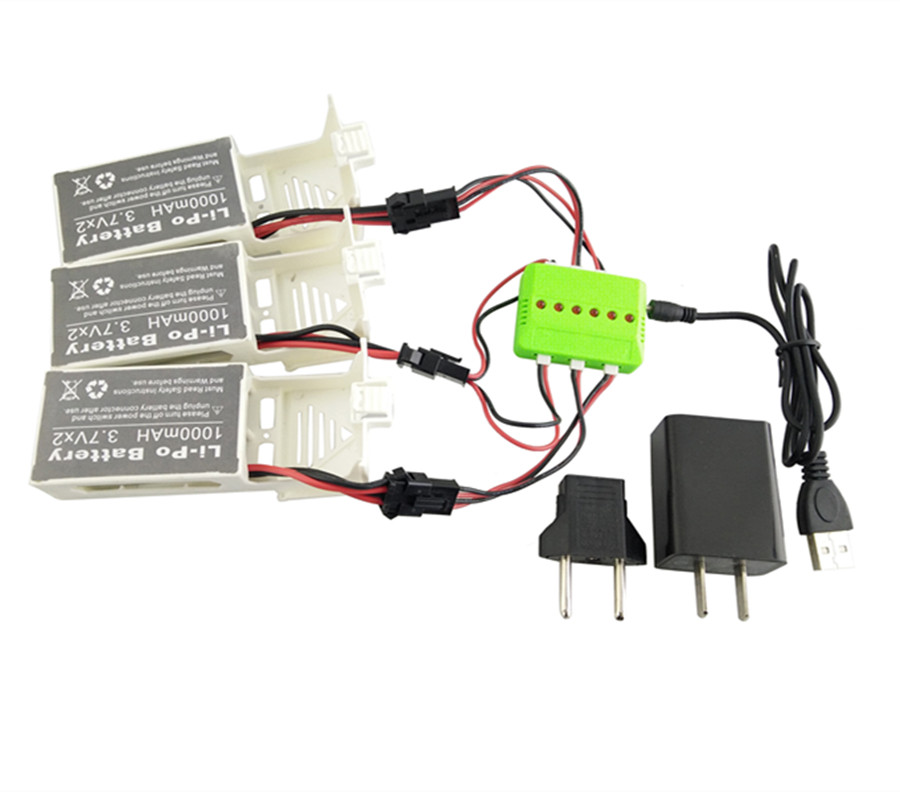 3 Pcs 3.7v 1000mah Battery and 1 to 3 USB Charger for Udi U842 U842-1 U818S Rc Quadcopter Drone Black Spare Parts Batteries Set 3pcs battery and european regulation charger with 1 cable 3 line for mjx b3 helicopter 7 4v 1800mah 25c aircraft parts