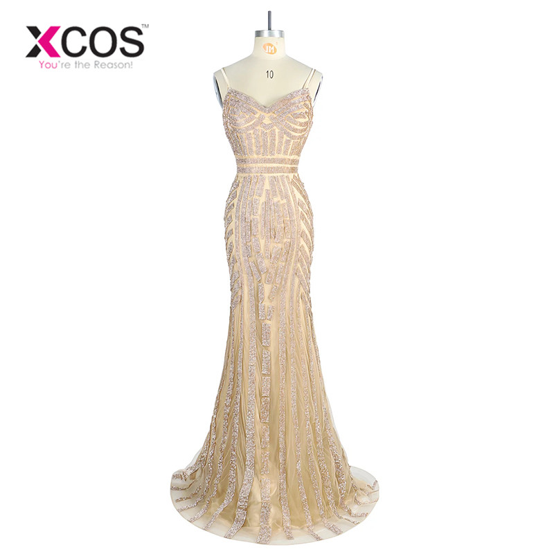 Robe De Soiree Evening Party Dress Real Photo Nude Color Tulle Crystal Royal Blue Party Occasion Formal Long Evening Dress SA841