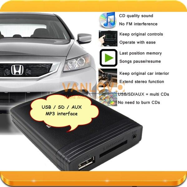 ФОТО YATOUR Digital Music Changer AUX SD USB MP3 Player for HONDA Accord Civic CR-V Odyssey Fit FR-V Pilot Element S2000 Ridgeline
