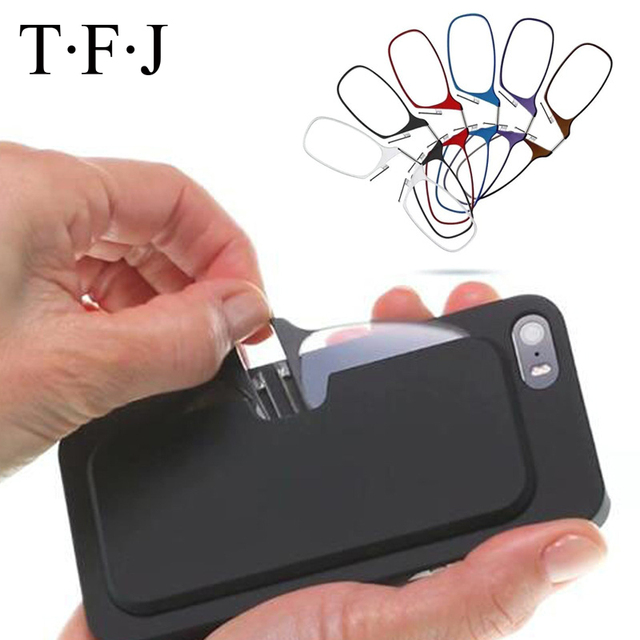 Mini Nose Clip Thin Portable SOS Reading Glasses with Phone Stands Glasses Case Mini Wallet Pince Nez Optics