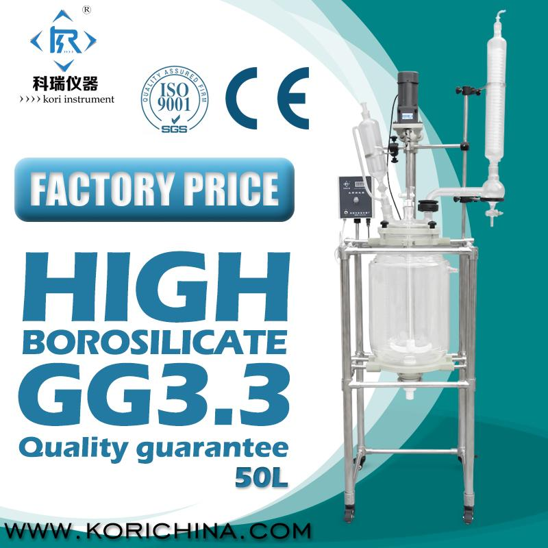 50L Chemical Vacuum Jacketed double lined glass reactor with condenser with dropping flask for lab reaction to heat or chiller 10l batch glass reactor glass lined jacketed reactor vessel for chemicaland pharmaceuticals industry with condenser with ptfe