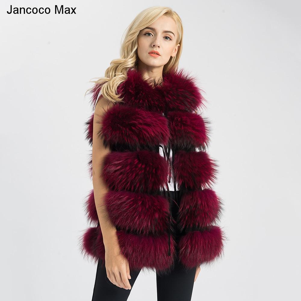 Jancoco Max 2019 Nouveau 8 Couleurs Réel veste en fourrure raton laveur véritable Fourrure Gilet Long Gilet de Femmes D'hiver nouvelle mode Manteau 1150L