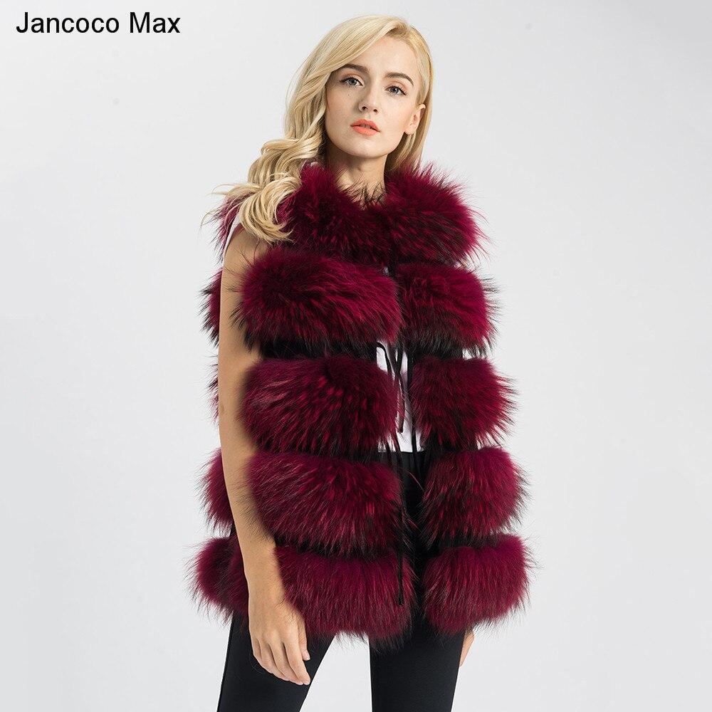 Jancoco Max 2019 Nuovo 8 Colori Reale Gilet di Pelliccia Genuino delle Donne Pelliccia di Procione Gilet Lungo Panciotto di Inverno di Nuovo Modo di cappotto 1150L
