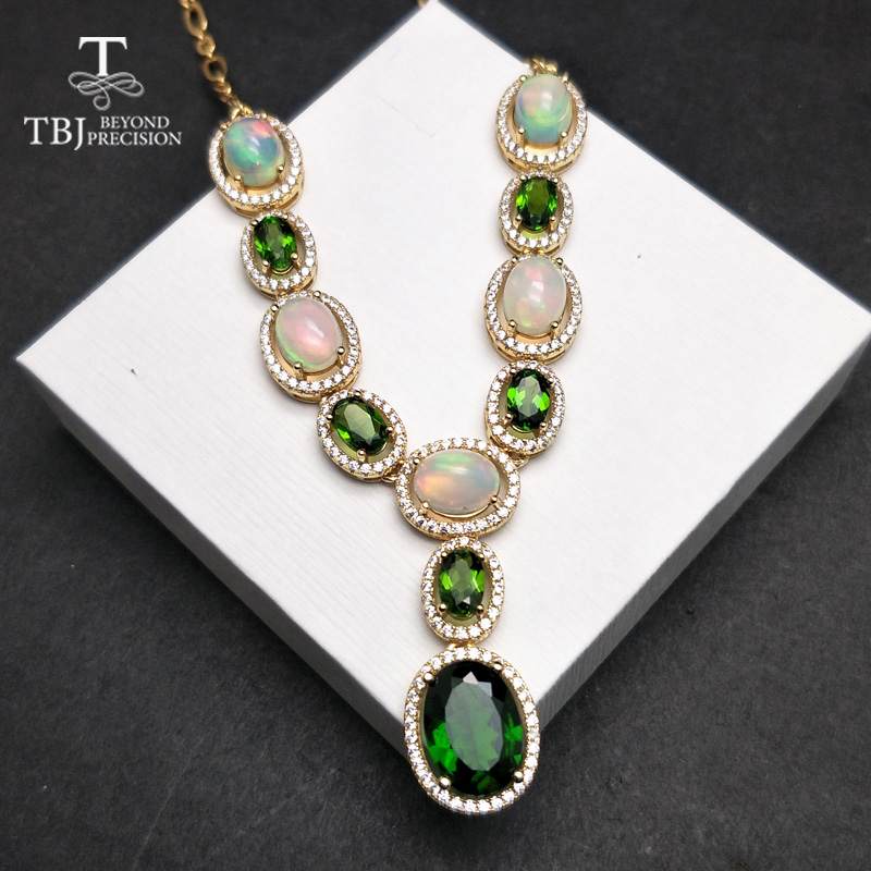 TBJ, Graceful luxury natural gemstone necklace with natural opal and diopside in 925 sterling silver yellow gold color lady gift swarovski graceful lady 5295386