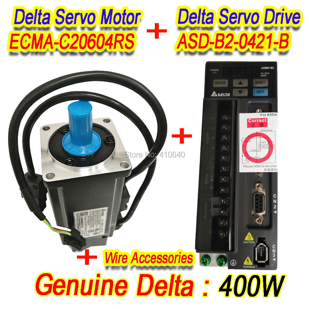 Genuine Delta 400 W Servo Motor ECMA-C20604RS And Servo Drive ASD-B2-0421-B with Full Set of Cable Free Shipping By DHL new original cimic servo motor b2 400w asd b2 0421 b ecma c20604rs 60mm 220v 400w 1 27nm 3000rpm 17bit