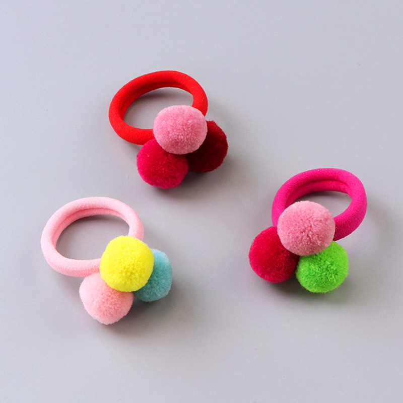 New Korean Cute Girls Colorful Fuzz Ball Elastic Hair Bands Children Ponytail Holder Rubber Bands Kids Hair Accessories Tie Gum new diy fuzz