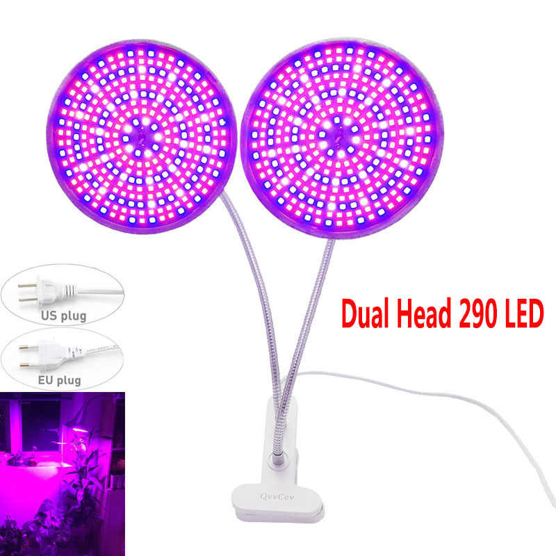 Dual Head 290 LED Grow Light Full Spectrum Plant Growth Lamp Bulbs For Indoor Flower Seeds Greenhouse Growing Phyto Holder Clip
