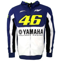2017 Valentino Rossi VR46 M1 Factory Racing Team Moto GP Adult Hoodie for Yamaha Blue Zipper Sweatshirt