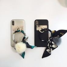 maosenguoji Grid texture Big ring Ribbon Hairball Mobile Phone Case for iphone6 6s 6plus 7plus 8plus X fashion Couple phone case