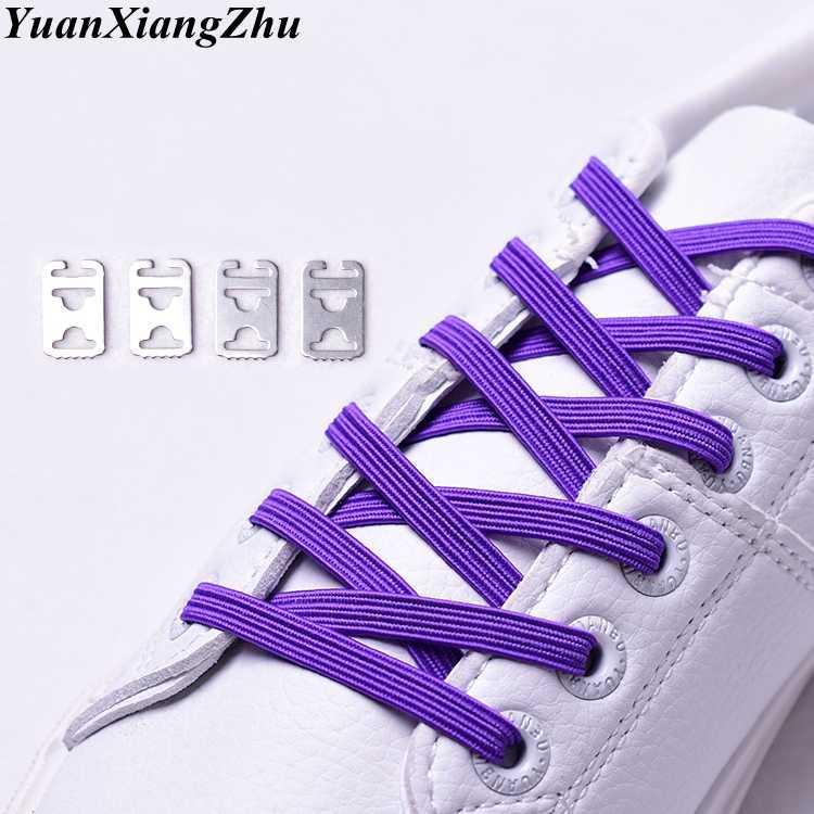 1Pair Tie free Shoelace Stretch Elastic Lazy Shoelaces Flat Shoe Lace Multicolor