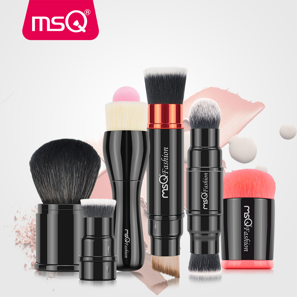 MSQ New Portable Retractable Double Ended Blusher Makeup Brush Pro Foundation Cosmetic Blusher Face Powder Brushes Beauty Tools