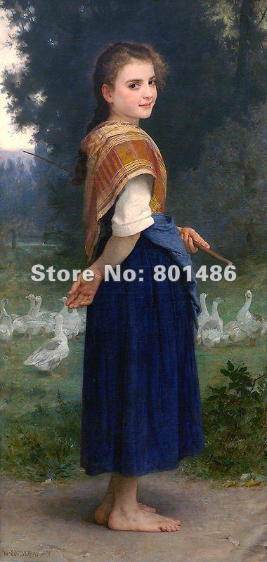 Handmade painting reproduction with high quality the Goose Girlby William Adolphe Bouguereau ,50x100cm,free shipping