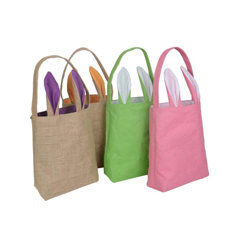 20pcs lot Hot Cotton Linen Easter Bunny Ears Basket Bag Easter Decorations For Home Festival Party