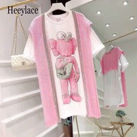women knitted Pink 2 Pieces set Women sequined Set for women bear print short sleeve long shirt two piece bling bling set