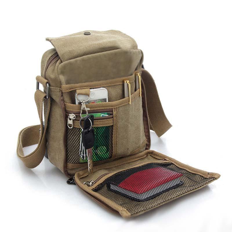 Vintage Canvas Mens Women Crossbody Bag Shoulder Messenger Bags Handbag Male Casual Travel Zipper LXX9